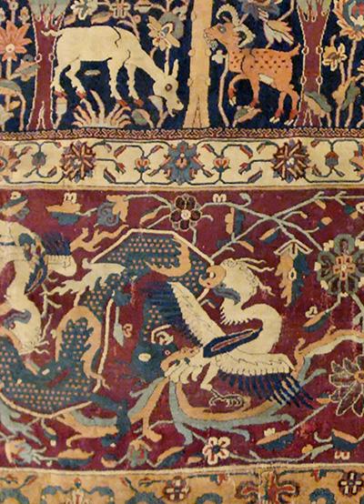 Détail du «tapis de Mantes»(Iran du nord ouest, XVIe siècle).