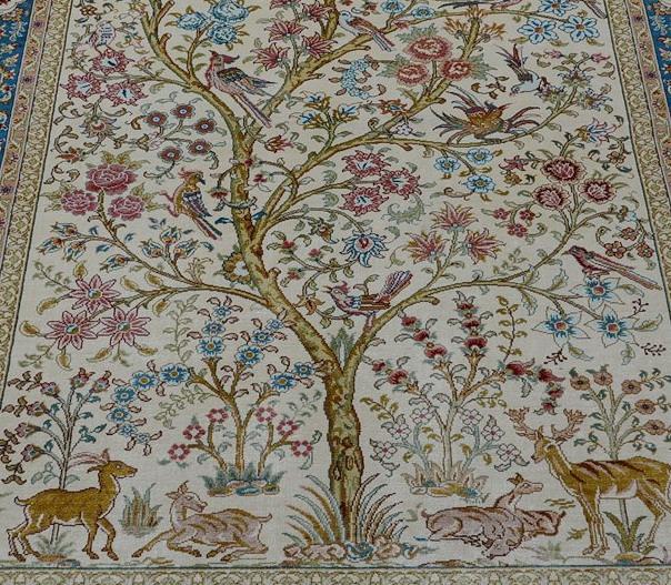 Arbre de vie persan (tapis pure soie, réalisé à la main).